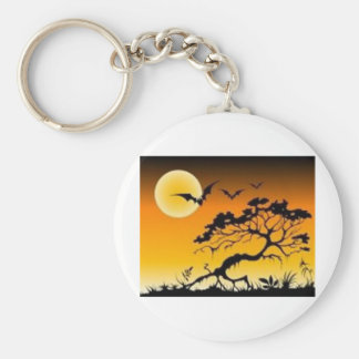 Spook scene basic round button key ring
