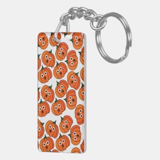 Spooked Pumpkins (Add Background Color) Double-Sided Rectangular Acrylic Key Ring