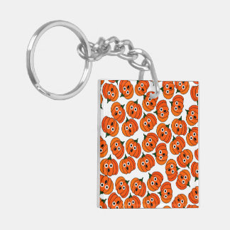 Spooked Pumpkins (Add Background Color) Double-Sided Square Acrylic Keychain