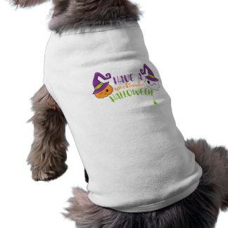 Spooktacular Halloween Ghost & Jack-o-Lantern Sleeveless Dog Shirt