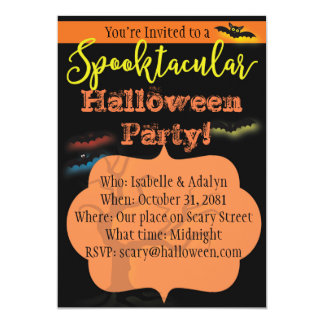 Spooktacular Halloween Party Invitation with Bats