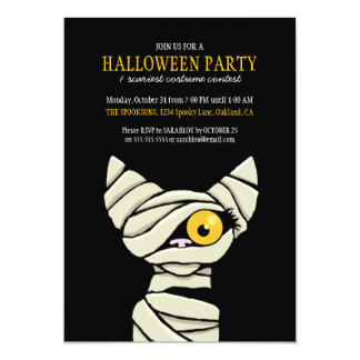Spooky Bandaged Mummy Cat Halloween Party 13 Cm X 18 Cm Invitation Card