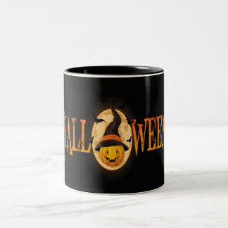 Spooky Bats and Pumpkin Halloween Mug