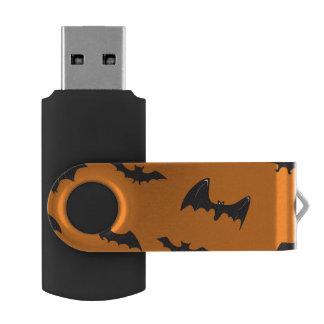 Spooky Bats on Orange Swivel USB 2.0 Flash Drive
