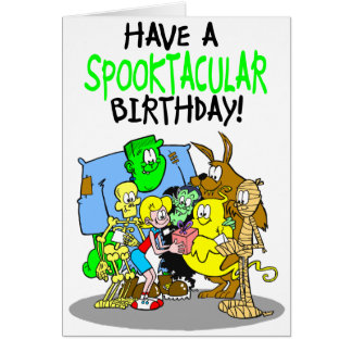 Spooky birthday card for girls.