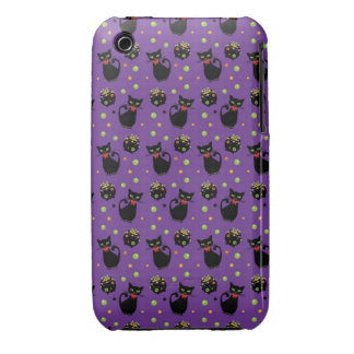 Spooky Black Cat and Cauldron Halloween Pattern iPhone 3 Case