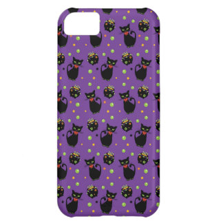 Spooky Black Cat and Cauldron Halloween Pattern Case For iPhone 5C
