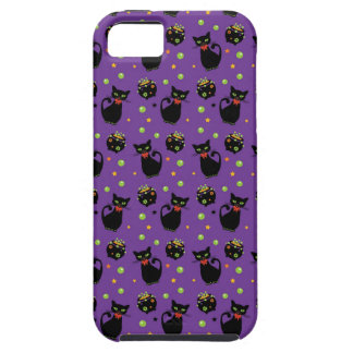 Spooky Black Cat and Cauldron Halloween Pattern iPhone 5 Cases