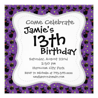 Spooky Black Cat and Cauldron Halloween Pattern Personalized Invites