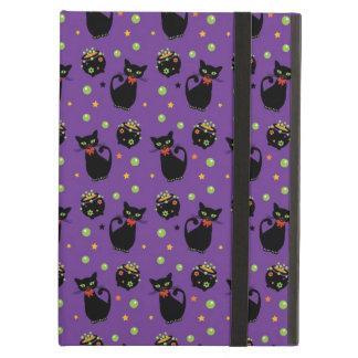 Spooky Black Cat and Cauldron Halloween Pattern iPad Covers