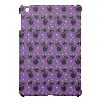 Spooky Black Cat and Cauldron Halloween Pattern Case For The iPad Mini