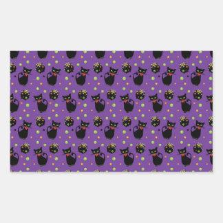 Spooky Black Cat and Cauldron Halloween Pattern Rectangular Sticker
