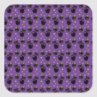Spooky Black Cat and Cauldron Halloween Pattern Square Stickers