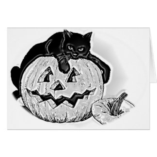 Spooky Black Cat and Pumpkin Halloween Greeting Card