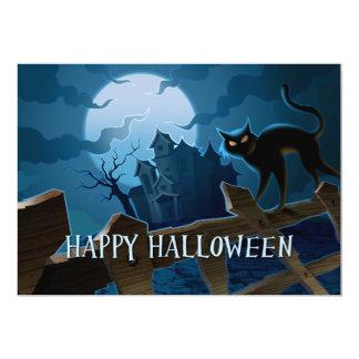 Spooky Black Cat Halloween Invitation