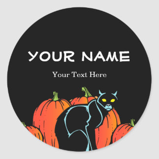Spooky Black Cat Halloween Round Sticker