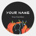 Spooky Black Cat Halloween Round Stickers