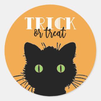 Spooky Black Cat Halloween Stickers
