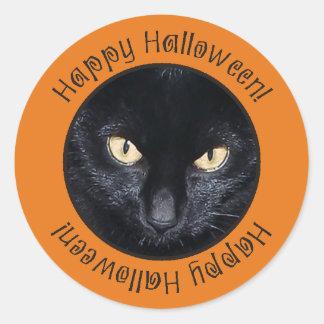 Spooky Black Cat Happy Halloween Circle Stickers