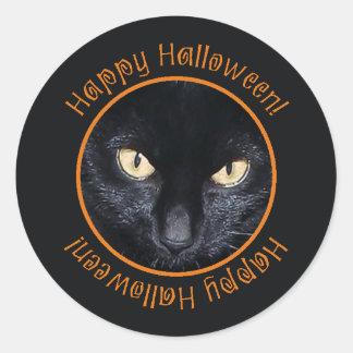 Spooky Black Cat Happy Halloween Round Stickers