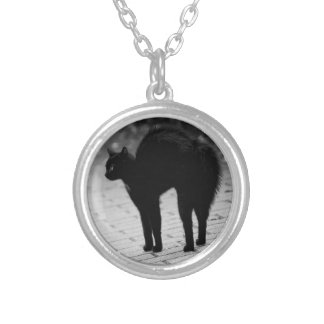 Spooky Black Cat Silver Plated Necklace