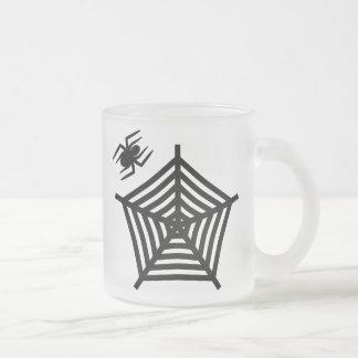 Spooky Black Spider & Web Frosted Glass Mug Coffee Mug