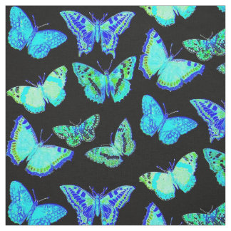 Spooky Blue Black Butterfly Moth Fabric