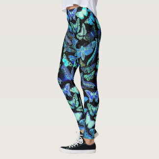 Spooky Blue Black Butterfly Moth Leggings | Insect