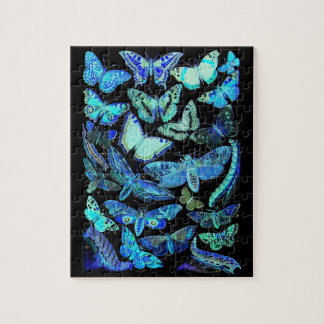 Spooky Blue Black Butterfly Moth Puzzle