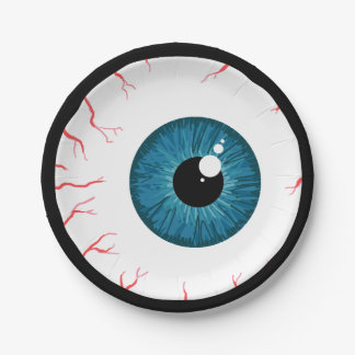 Spooky blue eyeball halloween paper plates
