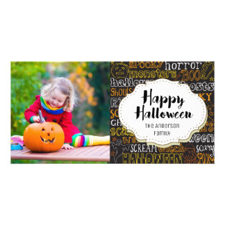 Spooky Boo Monsters Halloween Picture Photo Card