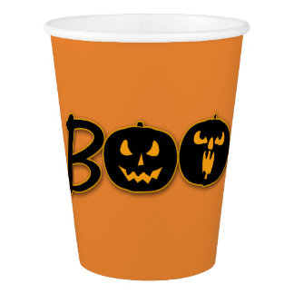 Spooky BOO Pumpkins Halloween Party Celebration Paper Cup