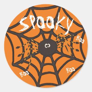 Spooky Boo Spider Classic Round Sticker