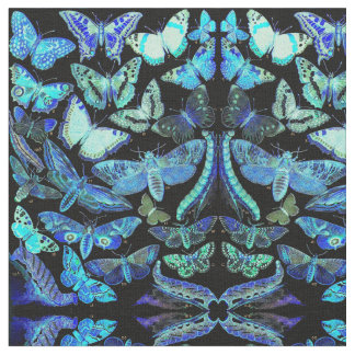 Spooky Butterflies Moths Blue Black Fabric