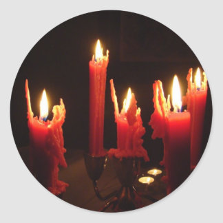 Spooky candles in the dark classic round sticker