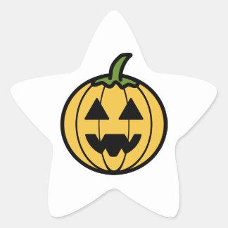 Spooky Carved Halloween Pumpkin Jack-o-Lantern Star Sticker