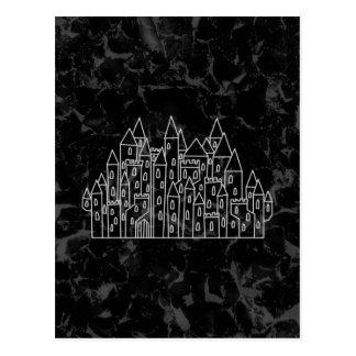 Spooky Castle Design in Black and Gray. Postcard
