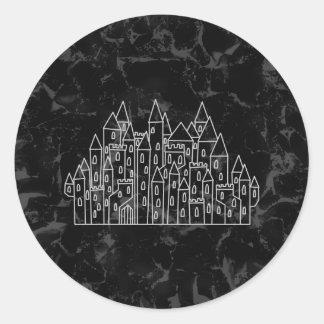 Spooky Castle Design in Black and Gray. Sticker