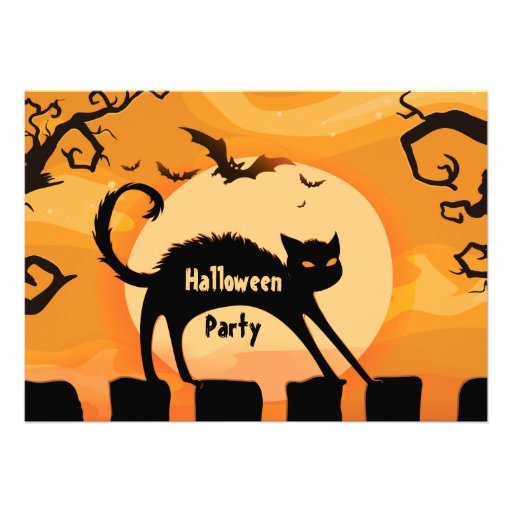 Spooky Cat and Bats Halloween Party Card
