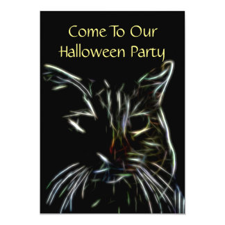Spooky Cat Halloween Party Card
