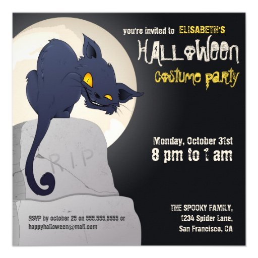 Spooky Cat Halloween Party Invite