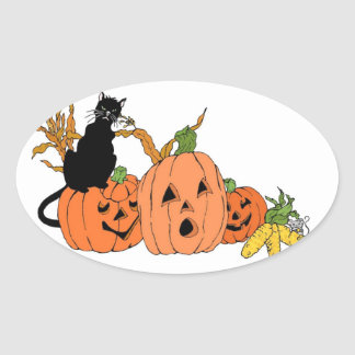 Spooky Cat Oval Sticker