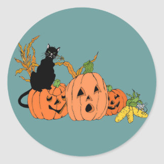 Spooky Cat Round Sticker