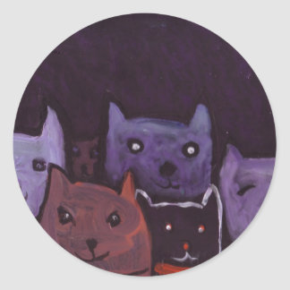 Spooky cats round sticker