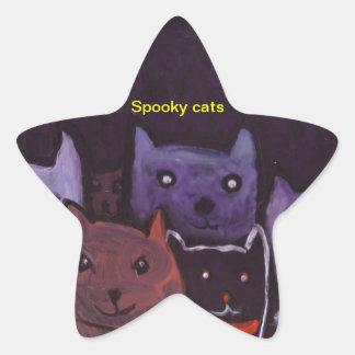 Spooky cats star sticker