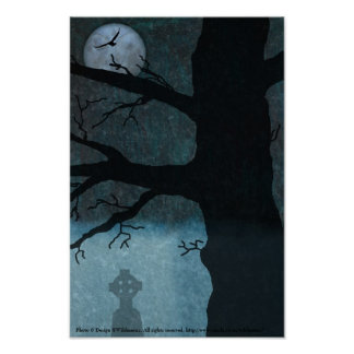 Spooky cemetery poster