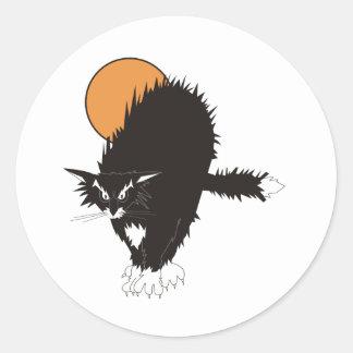 Spooky Classic Cat Round Sticker