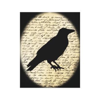 Spooky Crow on Aged Text Canvas