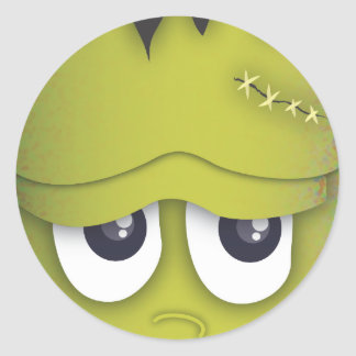 Spooky Cute Green Monster Head Halloween Sticker