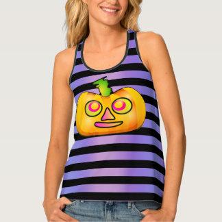 Spooky Cute Halloween Pumpkin Stripe Tank Top